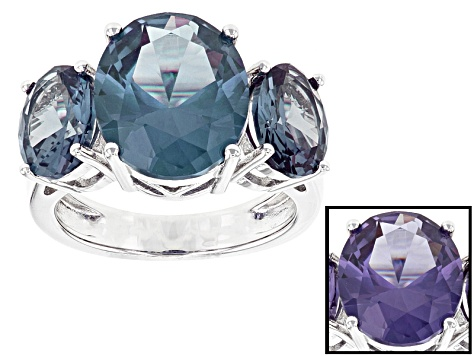 Purple Color Change Lab Created Sapphire Rhodium Over Sterling Silver 3-Stone Ring 7.68ctw