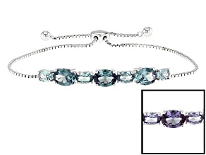 Purple Color Change Lab Created Sapphire Silver Bracelet 5.36ctw