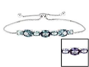 Purple Color Change Lab Created Sapphire Silver Bracelet 5.36ctw