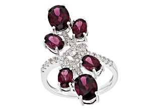 Purple Rhodolite Sterling Silver Ring 4.70ctw