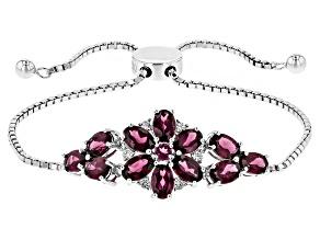 Purple Rhodolite Sterling Silver Floral Sliding Adjustable Bracelet 5.82ctw