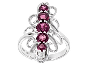 Purple Rhodolite Sterling Silver 5-Stone Ring 1.59ctw