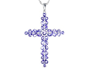 Blue Tanzanite Rhodium Over Sterling Silver Cross Pendant With Chain 5.74ctw
