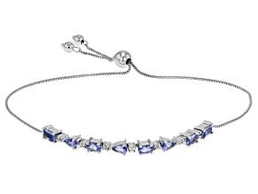 Blue Tanzanite Sterling Silver Sliding Adjustable Bracelet 1.66ctw