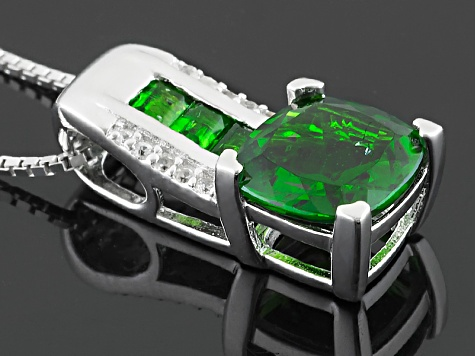 Green Chrome Diopside Sterling Silver Pendant With Chain 2.29ctw