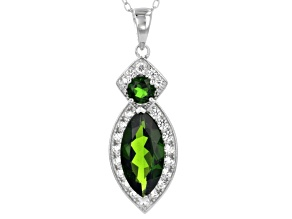 Green Chrome Diopside Sterling Silver Pendant With Chain 3.27ctw