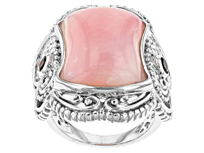 Pink Peruvian Opal Sterling Silver Ring .21ctw