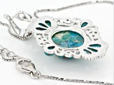 Blue Turquoise Sterling Silver Enhancer With Chain .06ctw.
