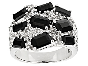Black Spinel Sterling Silver Ring 4.07ctw