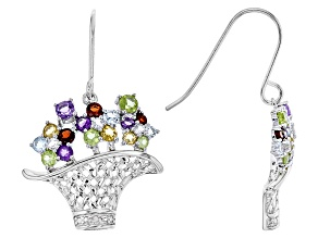 Multi Stone Sterling Silver Earrings .84ctw