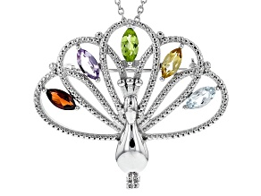 Multi Stone Sterling Silver Brooch Pendant And Chain 3.00ctw