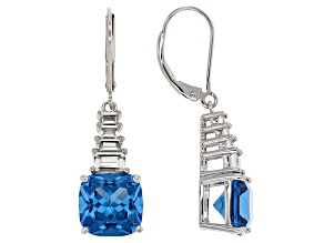Blue Lab Spinel Sterling Silver Earrings 9.90ctw