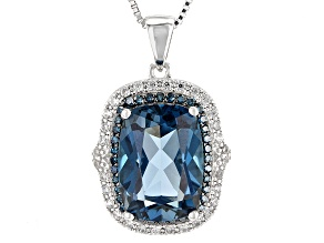 London Blue Topaz Sterling Silver Pendant With Chain 7.34ctw