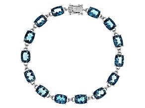 London Blue Topaz Sterling Silver Bracelet 19.17ctw