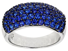 Blue Lab Spinel Sterling Silver Band Ring 2.00ctw