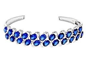 Blue Lab Spinel Sterling Silver Cuff Bracelet 16.06ctw