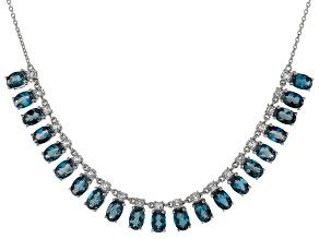 London Blue Topaz Sterling Silver Necklace 10.14ctw