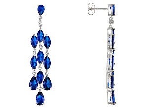 Blue Lab Created Spinel Silver Chandelier Earrings 11.61ctw