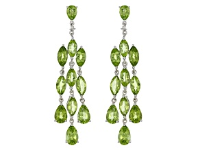 Green Peridot Rhodium Over Sterling Silver Chandelier Earrings 12.27ctw