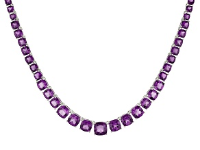 Purple Amethyst Rhodium Over Sterling Silver Necklace 36.30ctw
