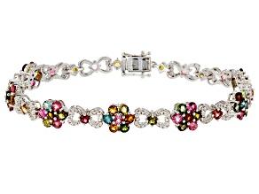 Multi-Tourmaline Sterling Silver Floral Bracelet 7.54ctw