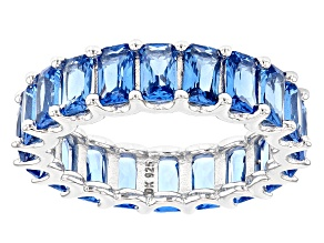 Blue Lab Spinel Sterling Silver Eternity Band Ring 5.10ctw