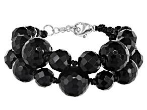 Black onyx rhodium over silver bracelet