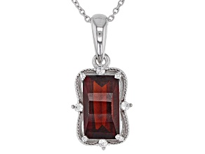 Red garnet rhodium over silver pendant with chain 2.27ctw
