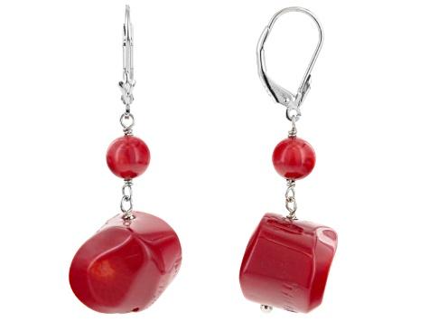 Red C Sterling Silver Dangle Earrings