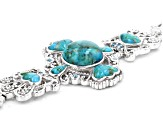 Blue Turquoise Sterling Silver Bracelet .17ctw