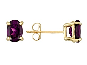 Grape Color Garnet 10k Yellow Gold Earrings 1.57ctw