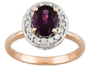 Grape Color Garnet 10k Rose Gold Ring 1.28ctw