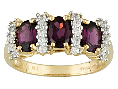 Grape Color Garnet 10k Yellow Gold Ring 1.62ctw
