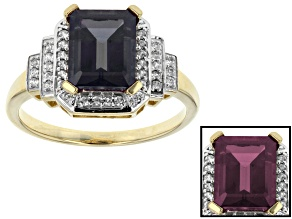 Color Change lab created Alexandrite 10k Yellow Gold Ring 2.90ctw
