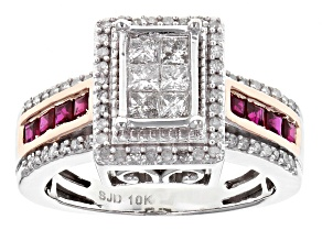 White Diamond And Burmese Ruby 10k White Gold Ring .85ctw