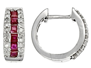 White Diamond And Burmese Ruby 10k White Gold Earrings 1.00ctw