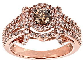 Champagne And White Diamond 10k Rose Gold Ring 1.06ctw