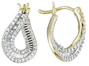 White Diamond 10k Yellow Gold Earrings .45ctw