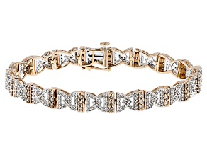 Champagne And White Diamond 10k Rose Gold Bracelet 3.50ctw