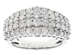 White Diamond 10k White Gold Ring 2.03ctw