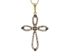 Champagne And White Diamond 10k Yellow Gold Pendant .33ctw