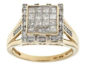 White Diamond 10k Yellow Gold Ring .80ctw