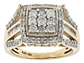 White Diamond 10k Yellow Gold Ring 1.10ctw