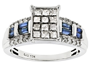 White Diamond And Blue Sapphire 10k White Gold Ring 1.15ctw