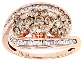White And Champagne Diamond 10k Rose Gold Ring 1.45ctw