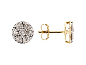 Diamond 10k Yellow Gold Cluster Earrings 1.00ctw
