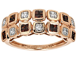 Red And White Diamond 10k Rose Gold Ring .50ctw
