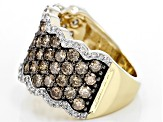 Champagne And White Diamond 10k Yellow Gold Ring 3.00ctw