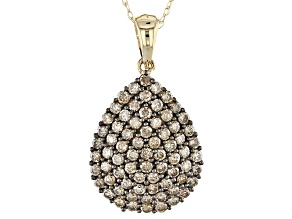 Champagne Diamond 10k Yellow Gold Pendant 1.30ctw