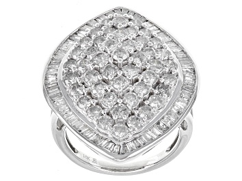 Picture of White Diamond 10k White Gold Ring 4.00ctw